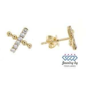 Real Diamond Fine Small Stud Earrings Yellow Gold
